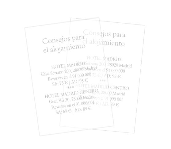 Papel transparente vertical