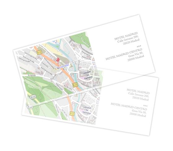 Papel transparente horizontal con mapa
