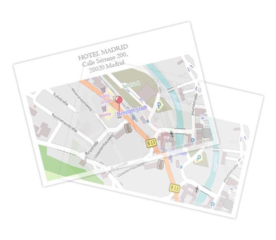 Papel transparente apaisado con mapa
