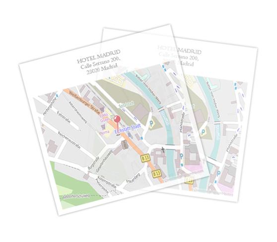 Papel transparente cuadrado con mapa