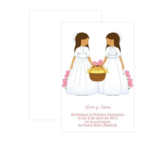 invitaciones de primera comunion para gemelas